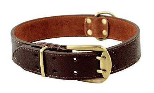 ZEEY Pet Starke Lederhalsband verstellbar für große Hunde, Hals 59cm bis 70 cm und 4 cm breit, Doppelgürtelschnalle Hund Halsband mit starken Hundeleine Haken (Braun) (Braun Hund Dog Halsband)