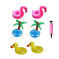 MAKFORT Inflatable Drink Holder Toys Mini Kawaii Coke Cup Floats - Palm Tree, Yellow Duck and Flamingo Bath Swim Water Pool Floating Drinks Holder