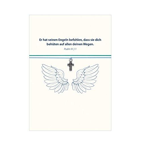 Glücksschmiedin Armband - Gott schütze Dich mit Kreuz versilbert, mit 2 auswechselbaren Bändern in türkis und hellblau und liebevoller Karte mit Psalm