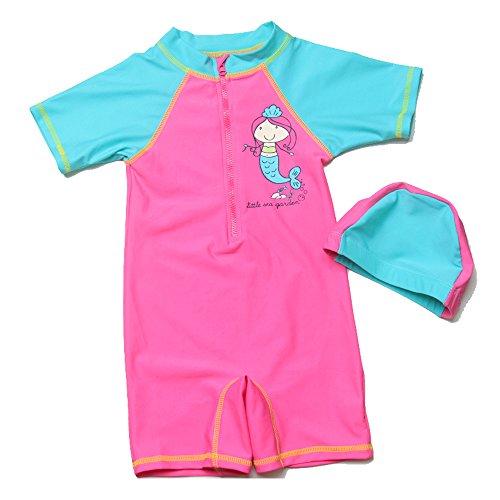 AOZY Kids Girls Boys Short Sleeve Zip Rash Guard One Piece Swimming Costume Sunsuit