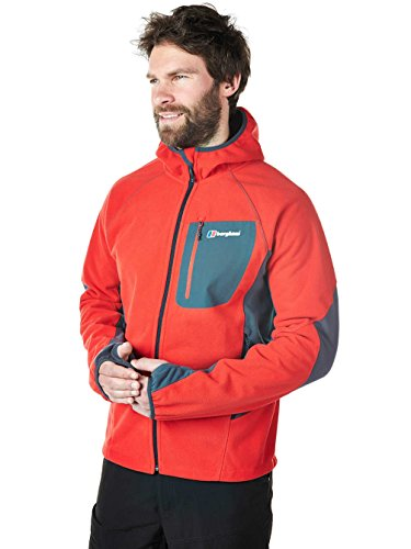 Berghaus Herren Ben Oss Windproof Hooded Jacke, Grau / Schwarz, S extrem red/carbon