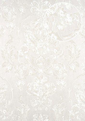 Barock Tapete ATLAS CLA-602-4 Vliestapete geprägt mit floralen Ornamenten glänzend silber...