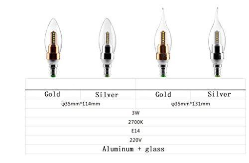 DZW Bulbo del candelabro de E14 LED, base de 3.5W y 4W E14, blanco caliente 2700K bulbos de la vela del LED, 220V, no-dimmable, adaptar una araña con la lámpara de cristal , 4w , 2Fuente de alimentación de corriente constante