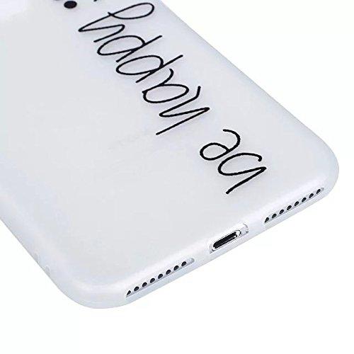 iPhone 7 Plus Coque,iPhone 7 Plus Lumineux Boîtier de Téléphone Mobile Coque étincelait Sous les la Nuit,Etsue Personnalité Drôle de Coque pour iPhone 7 Plus,TPU Gel Transparente Housse Épaississement Be Happy