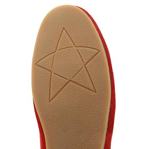 Frestepvie Ballerines Femme Chaussure Plat Elégant Bateaux Toiles Sneakers Sport Casual Rouge