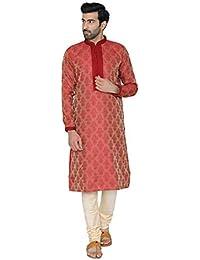 Manyavar Self Design Kurta Set in Red and Beige