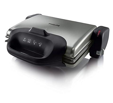 Philips HD4467/90 Gesundheitsgrill (2000 W, 3 in 1, gerippte Platte) schwarz/silber