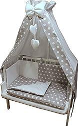 6-tlg. Baby Bettwäsche für Babywiege, Schaukelwiege, Beistellbett. incl. Nestchen Motiv: Punkte
