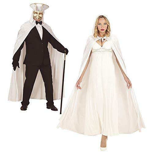 Cape Mit Weißen Einem Kostüm - Widmann 3487W, Weisser Umhang aus Samt mit Kapuze ca. 150 cm für Erwachsene zu Halloween, Karneval oder Fasching