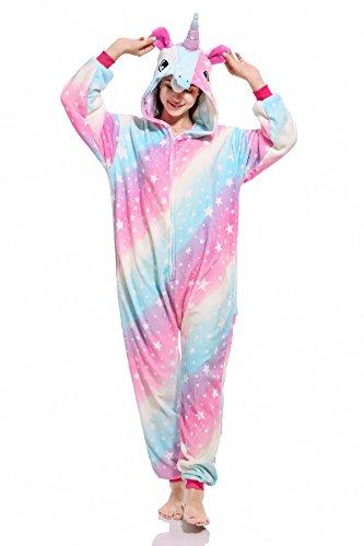 Woneart Schlafanzug Einhorn Pyjamas Tier Overall Karikatur Neuheit Nachtwäsche Halloween Weihnachten Karneval Verkleidung Jumpsuit Kostüme für Erwachsene, Kinder (M for 160CM-168CM, Starry Sky)