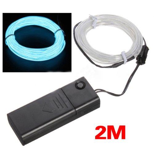 El Lights Neon Flexible (SODIAL(R) 2 M hellgruen Flash-flexible Neonlicht-Gluehen El-Streifen U-Wire + Batteriekasten)