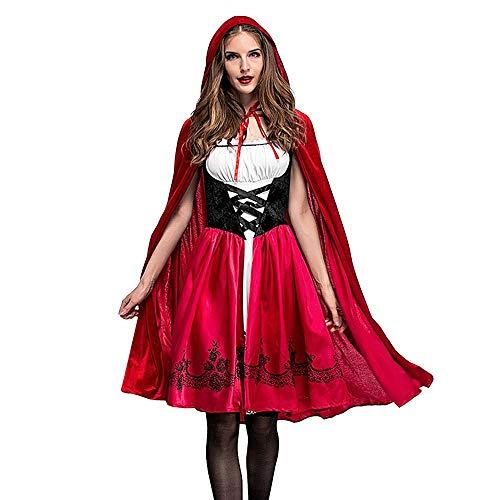 Für Kostüm Sexy Erwachsene Eskimo - Calvinbi Rotkäppchen Kostüm Set Damen fur Halloween Party Ball Karneval Kostüme Cosplay Midi Dirndl Set Elegante Kleider Vintage Kleid mit Umhang Spitzenkleid Lolita Kleider Knielang Partykleid