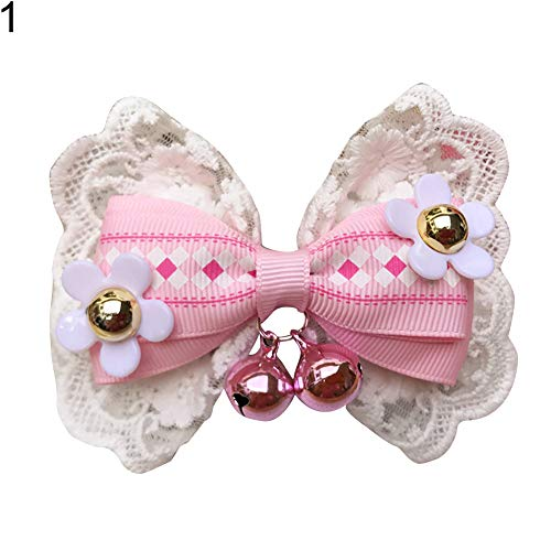 strimusimak Pet Dog Cat Lovely Small Bell Lace Flower Bowknot Bow Ties Necktie Collar-1# M (Tie Personalisierte Bow)