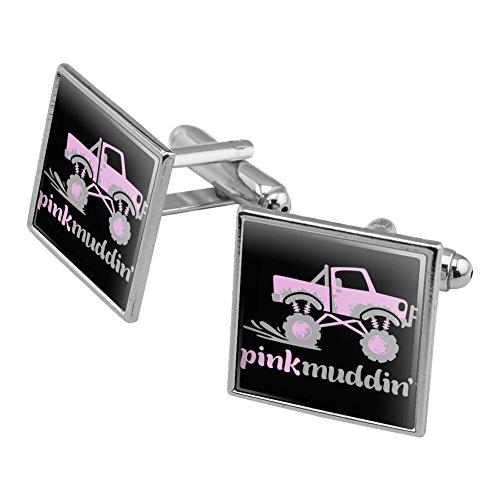 Pink muddin 'Mudding Mud zu Racing Monster Truck Logo Manschettenknöpfe, quadratisch Set Silber Farbe Lkw-monster-logo
