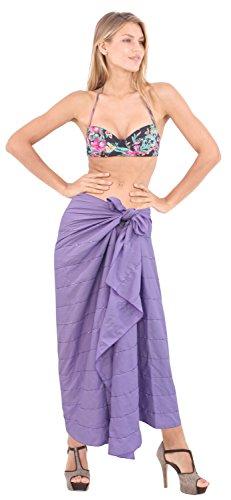 La Leela glatt Rayon Hand Pailletten bestickt Strand Vertuschungsarong 78x41 Zoll Orchidee Lavendel