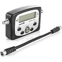 Poppstar Digital Satfinder (Dispositivo de medición Digital Sat Finder para Antena parabólica, alineación/Ajuste Exacto), Incl. Cable coaxial de 17 cm