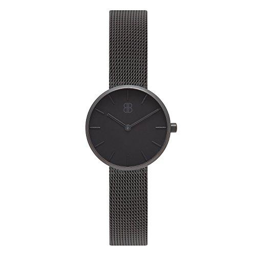 Byron Bond Mark 2 - Elegante Schmale Armbanduhr für Damen - Wasserdicht und aus Edelstahl - Modell: Shoreditch - Schwarzes Gehäuse mit schwarzem Zifferblatt und Milaneseband