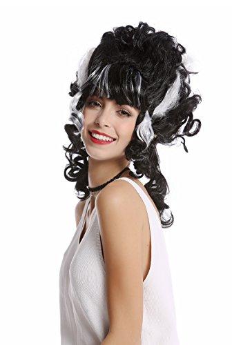 Wig me up - 91082-ZA103+ZA62 Perücke Damen Halloween Beehive Locken hochgesteckt schwarz weiß Strähnen Frankensteins Braut Dunkle Gräfin Vampirin