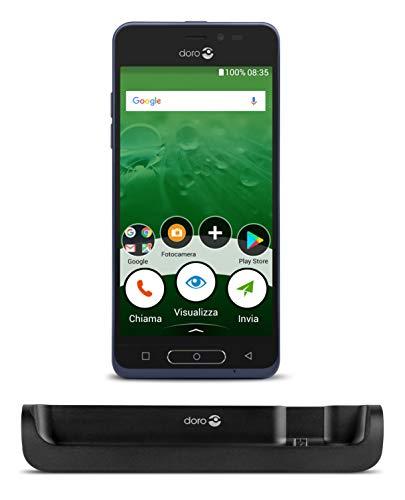 """Doro 8035 Smartphone 4G per Senior con Display da 5"""", Fotocamera da 5 MP e App Google Preinstallate (Blu)"""