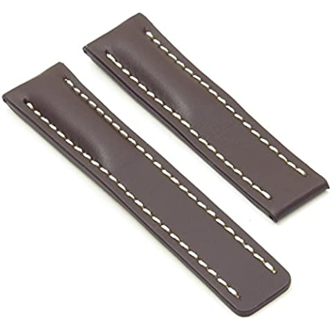 DASSARI Capital oscuro marrón suave piel banda de reloj para Breitling 22/2022mm