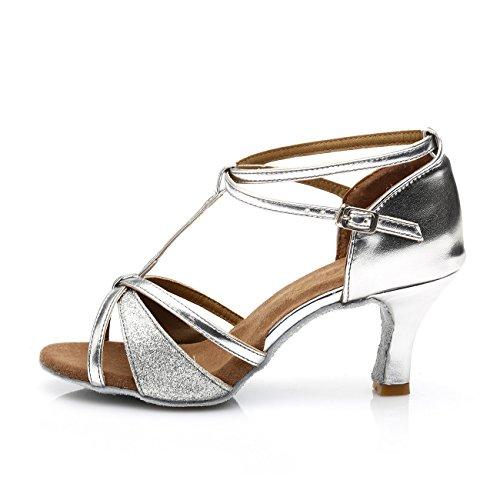 VESI - Damen Hoher Absatz Tanzschuhe Standard/Latein Silber 38(Absatz 5cm) - 2