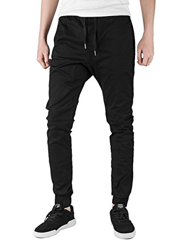 ITALIE MORN Sarouel homme Cargo Pantalons sport chino Joggers Casual Coton Noir XL Skinny