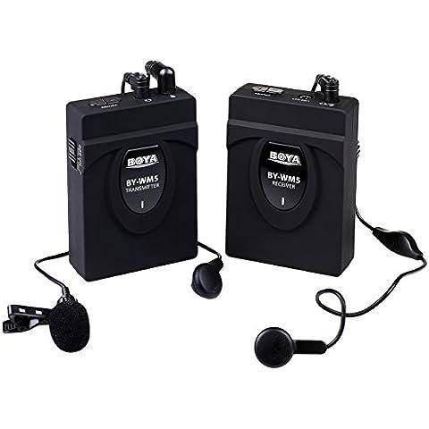 BOYA BY-WM5 Micrófono inalámbrico de solapa profesional para cámara Canon Nikon Sony DSLR videocámara