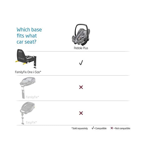 Maxi-Cosi Pebble Plus Baby Car Seat Group 0+, ISOFIX Car Seat, i-Size, 0-12 m, 0-13 kg, 45-75 cm, Sparkling Grey Maxi-Cosi Baby car seat, suitable from birth to approximate 1 year (0-13 kg, 45-75 cm) Fits with compatible Maxi-Cosi base unit for ISOFIX installation i-Size for enhanced safety and optimal protection against side impacts 1