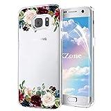 OKZone Galaxy S7 Edge Hülle [mit HD-Schutzfolie], [Blumen Series] Transparent Weiche Silikon Malerei Muster Hülle TPU Blühende Blumen Design Schutzhülle für Samsung Galaxy S7 Edge (Dunkelrot)