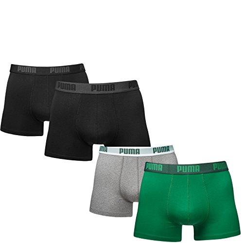 Puma Herren Boxer Basic Unterhosen 4er Pack in verschiedenen Farben 521015001 black (230)/amazon green-grey (075)