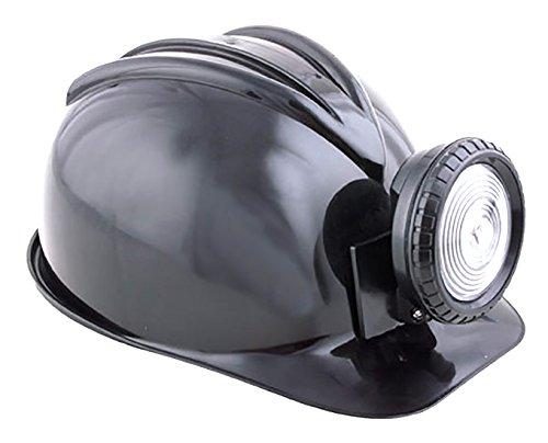 erdbeerclown - Helm mit Lampe - Erwachsene Bergarbeiter Mine Zubehör, Schwarz (Erdbeer-zubehör)