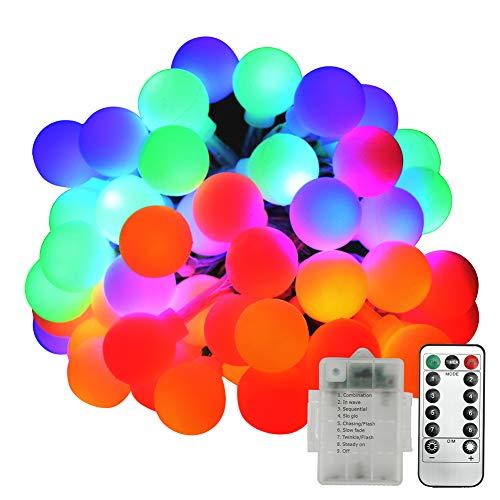 Lucine led decorative, neoperlhk luci led colorate da esterno impermeabile ip44 5m 50 lampadine 8 giochi a batteria luci natalizie piscina natale matrimonio da esterno e interno, luci colorate
