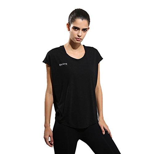 Wenyujh Damen Sport T Shirt Kurzarm Sommer Bluse Lässig Fitness Loose Fit (Schwarz, S) (Schwarz T-shirt Schönes Design)