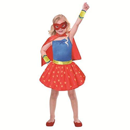 Mädchen Superhelden-Kostüm mit Umhang, Manschetten, Augenmaske (4-6 ()