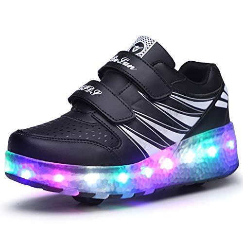Bruce Wang Unisex Kinder Roller LED Schuhe Leuchten Doppelräder Skateboard Turnschuhe Outdoor Sports Training Rollschuh Schuhe für Jungen Mädchen (36 EU, Schwarz 989)