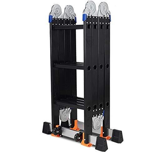 AA-SS- Ladder Schwarze Teleskopleitern FüR Industrie/GebäUde, Professionelle Aluminium-Mehrzweck-VerläNgerungsleitern, 3,7 M / 4,7 M / 5,8 M (GrößE: 4 Falten × 5 Stufen)