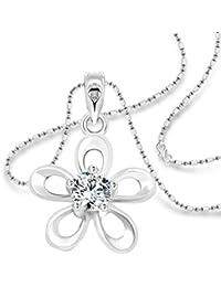 Vighnaharta White Jasmine Solitaire CZ Rhodium Plated Alloy Pendant With Chain For Girls - [VFJ1204PR]