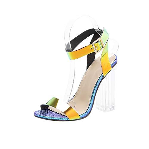 Wawer Damen Sommer Sandalen,Stilvoll Bunte Laser Sparkle Strap Durchsichtig High Heels Dicke Ferse Kreuzgurt mit Schnalle Shiny Einzelband Sexy Party Schuhe