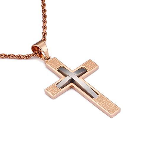 LJSHU Herren Kreuz Halskette Edelstahl mit Schrift Christian Fashion Joker Anhänger,Rosegold - Weiß Trackball