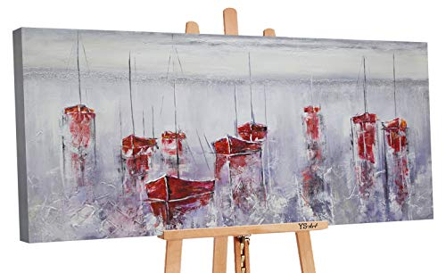 YS-Art Premium Acryl Gemälde Stiller Hafen | Handgemalt | Wand Bild | Kunst| Leinwand | Unikat | Grau (100 x 50 cm) -