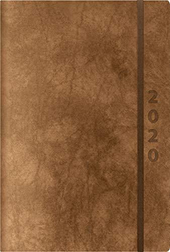 ReLeather Daily braun 2020: Terminplaner groß. DIN A5 Termin-kalender mit Vintage-leder und Tageskalendarium.