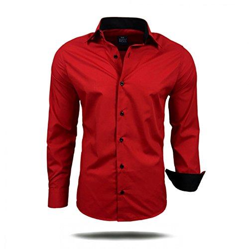 Herren Hemd Hemden Business Hochzeit Freizeit Slim Fit Bügelleicht S M L XL XXL, Größe:M;Farbe:Rot