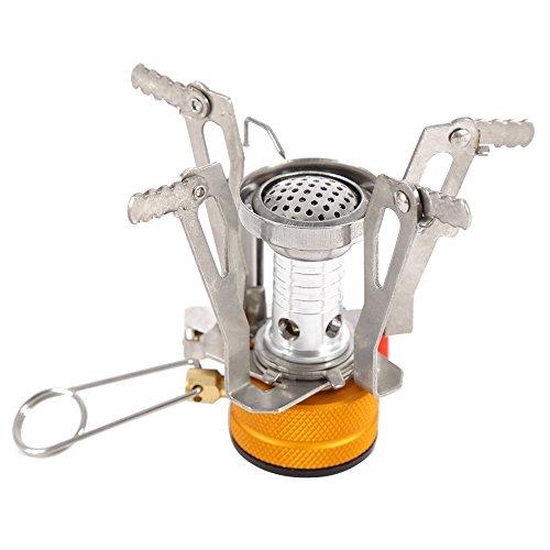 Greatlizard Portable Outdoor Picnic Gas Burner Adjustable Camping BBQ Mini Steel Stove Case