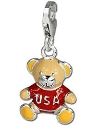 Plata Dream Charm oso Estados Unidos Plata de ley 925colgante para pulsera cadena pendientes fc662