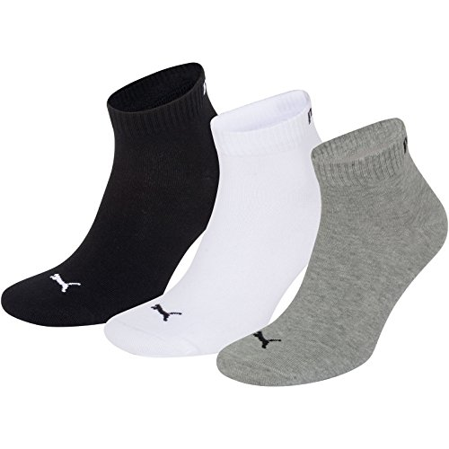 Puma Sports Socks - Unisex Quarter Quarters 3P - Three Pair Packs Of Plain/Mix UK Sizes 2.5 up to 14 (Black/White/Grey, UK SIZE 9-11)