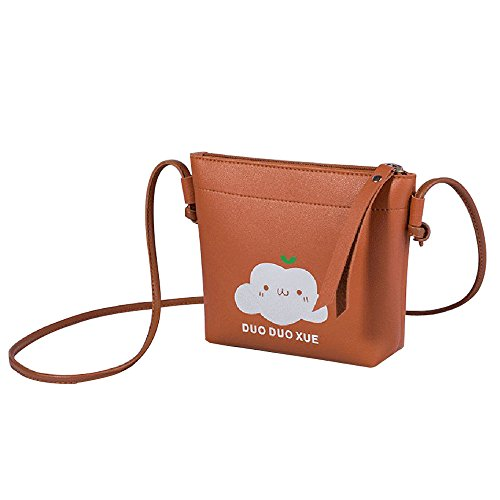Zolimx Portable diagonal kleine quadratische Tasche Umhängetasche Handtasche, Frauen Mode Solide Zipper Quasten Umhängetasche Umhängetasche Messenger Bag (Braun)