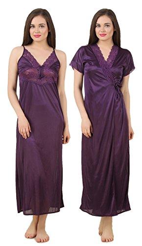 Fasense Women Satin Nightwear Sleepwear 2 PCs Set of Nighty & Wrap Gown GT005 (Medium, Purple)