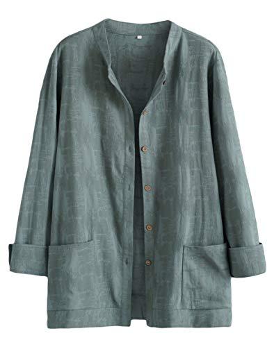 Mallimoda Donna Cardigan Elegante Cotone Camicie Giacca Manica Lunga Vintage Camicetta con Bottoni
