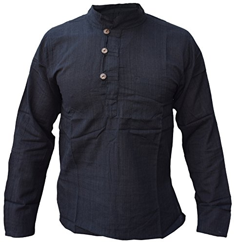 Camisa hombre, estilo kurta, sin cuello, algodón