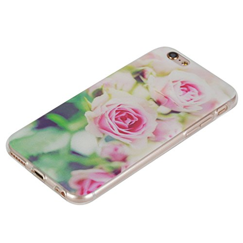 Felfy Case Coque Pour iPhone 6S,iPhone 6 Coque,iPhone 6S Case Case Ultra Mince Slim Coque Gel Souple Soft Flexible TPU Silicone Fashion Etui Painted Motif Design Bumper Anti Waterproof Scratch Cas Hou Rose Bumper